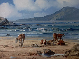 [ Cattle_on_the_Coral_Beach_Connemara_Co_Galway.jpg:  Cattle on the Coral Beach,Connemara,Co Galway <BR>Oil on Canvas 12