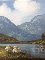 [ Resting_at_Lough_Inagh_Connemara_Co_Galway.jpg:  Resting at Lough Inagh Connemara Co Galway <BR>Oil on Canvas 6