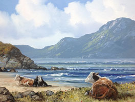 [ cattlecoral.jpg:  Cattle Resting on Coral Beach Connemara Co Galway <br>Oil on Canvas 12