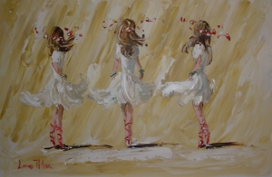 [ 1_Ballerinas_Of_To_The_Ball.jpg:  Ballerinas Of To The Ball <BR> Acrylic on board 20 x 30 ]
