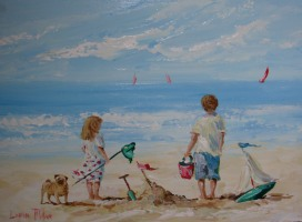 [ 2Playing_With_Pug_On_The_Beach.jpg:  Playing With Pug On The Beach - Sold<BR> Acrylic on board 12 x 16 ]