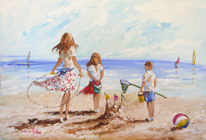 [ DSCN0675.jpg:  Building Sandcastles <BR> Acrylic on board 20 x 30 ]