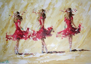 [ IrishDancers.jpg:  The Irish Dancers <BR> Acrylic on board 20 x 30 -Sold ]