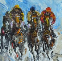 [ Dscn0125.jpg:  4 horses<BR>Acrylic on canvas 8 x 8 ]