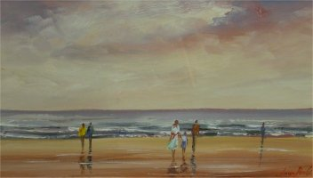 [ Dscn0341.jpg:  Will we go for a paddle?<BR>Acrylic on Board 14 x  8 ]