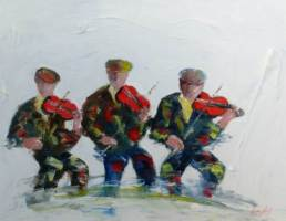 [ Dscn0591.jpg:  The fiddle players<BR>Acrylic on Board 20 x 16 ]