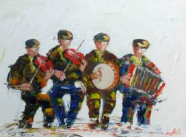 [ Dscn0594.jpg:  Musicians in session<BR>Acrylic on Board 16 x 12 ]