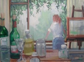 [ in_the_artists_studio_large.jpg:  In the Artists Studio<BR>Oil on Board 12 x 16 ]