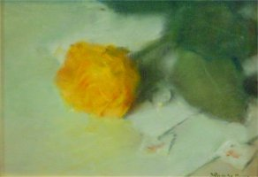 [ Dscn0304.jpg:  A yellow rose<BR>Oil on Board  8 x  6 Sold ]