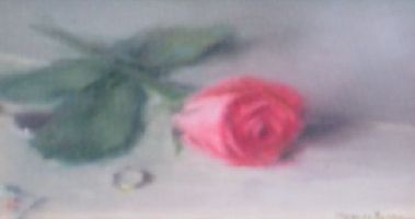 [ Dscn0848.jpg:  A Rose for Annie (pink)<BR>Oil on Board 6 x 8 ]