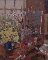[ P6270043_large.jpg:  Still life with palette<BR>Oil on Board 10 x  8 ]