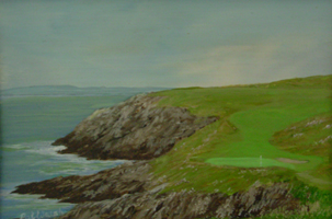 [ DSCN0732.jpg:  12th Hole, The Old Head of Kinsale Golf Links <br> Oil on Board 4 1/2