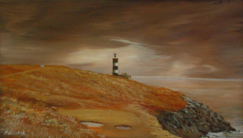 [ DSCN0735.jpg:  16th Hole, The Old Head of Kinsale Golf Links <br> Oil on Board 5