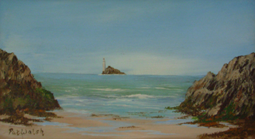 [ DSCN0741.jpg:  The Fastnet Lighthouse <br> Oil on Board 5