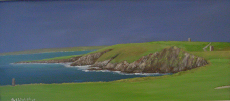 [ DSCN0748.jpg:  12th Hole, The Old Head of Kinsale Golf Links <br> Oil on Board 8